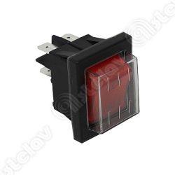 Kapcsoló beépíthető cseppmentes 22 x 30mm (piros)